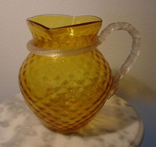 Victorian Amber Stained Water Pitcher Applied Twisted Rope Neck & Handle  - $275.00