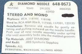PHONOGRAPH RECORD PLAYER NEEDLE 648-DS73 for RCA 117331 RCA 118198 RCA RMP-204-9 image 2