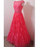SHERRI HILL Coral Rose Lace Jeweled Net Skirt Sleeveless Gown Model Leng... - $359.99