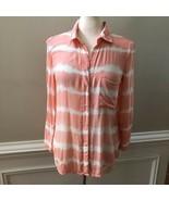 Cloth & Stone Womens Peach Coral Tie Dye Button Front Blouse Shirt Size XS - $26.70