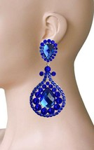 """3.75"""" Long Royal Blue Rhinestones Clip On earrings, Pageant, Drag Queen,Party - $17.10"""