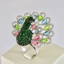 925 Silver Ring Rhodium and Burnished with Zircon Cubic Shaped Peacock image 2