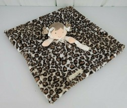 Blankets and Beyond Leopard Blanket Brown Hair Girl with Pacifier Holder - $8.41