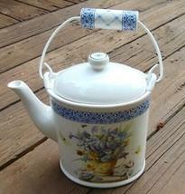 "Marjolein Bastin Hallmark Teapot Nature's Sketchbook Blue & White 8""  Li... - $12.86"
