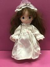 Vintage 1992 Precious Moments Brunette Bride Flower Girl doll - $19.75