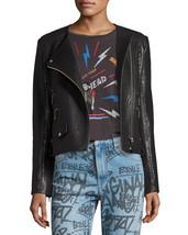 New Solid Leather Cropped Women's Genuine Lambskin Leather biker Jacket - $145.00