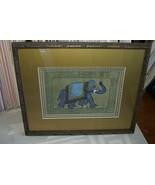 ORIGINAL ART FRAMED LARGE PERSIAN SILK INK PAINTING NEPAL ORNATE ELEPHAN... - $189.99