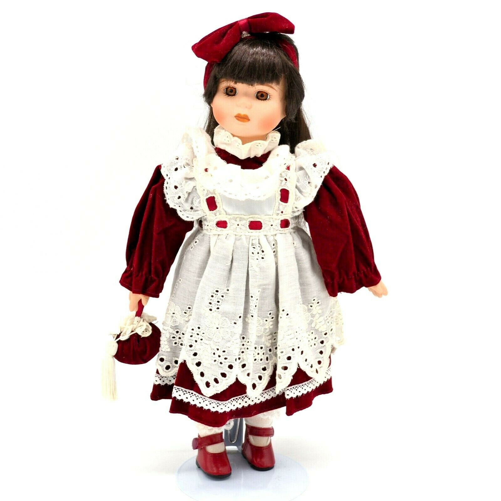 Primary image for Vintage Victorian Little Girl Porcelain Doll With Stand Brown Hair Brown Eyes