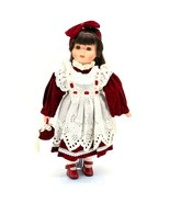 Vintage Victorian Little Girl Porcelain Doll With Stand Brown Hair Brown... - $54.44