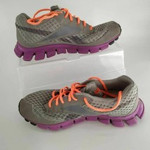 Reebok Womens RealFlex Running Shoes Gray Purple J95754 Low Top Lace Up 10 M - $24.01