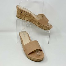 "Nine West Womens ""Confetty"" Tan Leather Cork Sole Wedge Heel Sandals, Si... - $18.76"