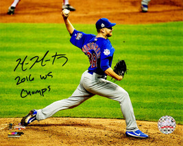 MIKE MONTGOMERY Signed Cubs 2016 WS Last Pitch 8x10 Photo w/2016 WS Cham... - $78.21
