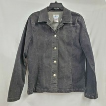 French Dressing Button Front Black Stretch Denim Jacket Sz 12 NWOT 0384 - $28.01
