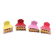 Random Colors Small Hair Claws Polka Dots Hair Pins Lovely Hair Grips Set of 5