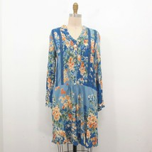 XS - Tiny Anthropologie Blue Floral Button Up Lace Trim Drop Waist Dress... - $30.00