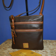 Dooney & Bourke Triple Zip Calf Leather Crossody NWT Brown image 2