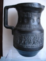 Detailed Black Pottery Handmade Greek Jug circ 1960's - $17.77