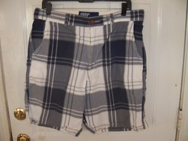 AMERICAN EAGLE OUTFITTERS BLUE/GRAY PLAID SHORTS SIZE 33 MEN'S EUC - $18.63
