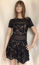 BCBG MAX AZRIA Black Lace Over Nude Dress sz 0 Mini - $37.62