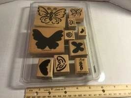 """Stampin Up 1999 """"Flutterbys"""" Set Of 10 Wood Block Rubber Mounted Stamps - $15.65"""