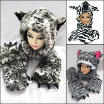 Unisex Plush Cartoon Animal Winter Hat Cap Earmuff Long Warm Scarf Mitten - $25.21 CAD