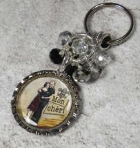 Mon Cheri Bottle Cap Keychain Crystal Beaded Handmade Split Key Ring New - $14.54