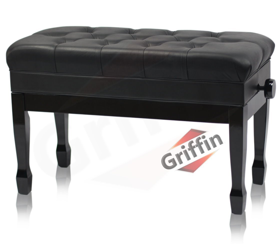 Primary image for GRIFFIN Genuine Leather Piano Bench - Oversize Duet Vintage Black Solid Wood & E