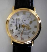 Snoopy Watch Peanuts Gang 45th Anniversary Gold Quartz Watch Vintage NIC - $123.70