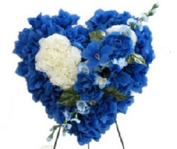 DELUXE SILK BLUE FLORAL HEART: grave-site presentation in remembrance of... - $99.79