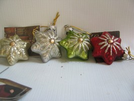 Bethany Lowe Xmas  4 Vintage Puffed Star Glass Ornaments  Asst. Colors.  - $27.71