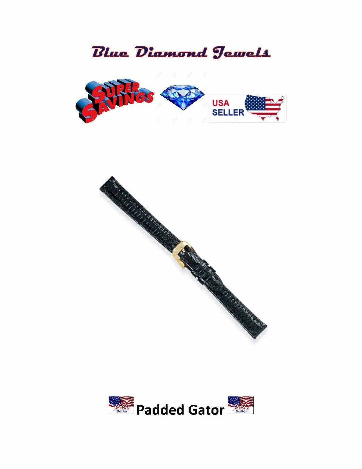 Primary image for 11mm Speidel Genuine Gator Padded Black Stitched Lds Watch Band 352330 CHEAP!