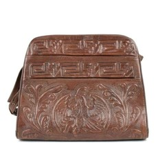 Vintage 70s Leather Aztec Purse High Relief Embossed Shoulder Bag Retro ... - $24.74