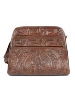Vintage 70s Leather Aztec Purse High Relief Embossed Shoulder Bag Retro ... - $24.74