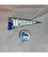 Brooklyn Dodgers ca 1950's Mini Felt Pennant and Pinback - $30.84