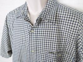 Vintage Bugle Boy Mens Large Plaid Button Down S/S Shirt Blue White - $13.88