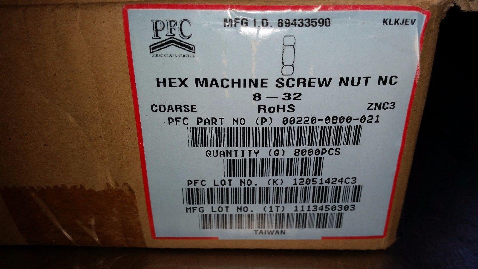 8000 pcs #8-32 coarse Hex Machine Screw Nuts Steel Zinc