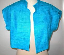NWT $468 Womens S USA Worth New York Light Blue Silk Micro Jacket NWT Crop Oasis image 2