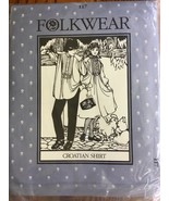 Folkwear 117 Croatian Shirt and Dress Tucks Sewing Pattern Men & Women S... - $9.99