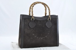 GUCCI Suede Bamboo Hand Bag Brown Auth ar742 **Sticky - $210.00