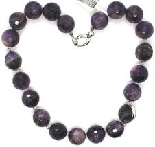 SILVER 925 NECKLACE, SPHERES LARGE AMETHYST FACETED 20 MM, LENGTH 50 CM image 2