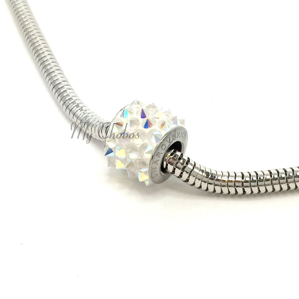 Swarovski European Fit Bracelet Charm Stainless BeCharmed Pave Spikes Crystal image 4
