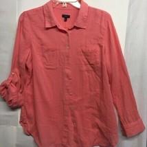 Talbots Womens Button Down Shirt Orange Roll Tab Long Sleeve Cotton Peti... - $19.79