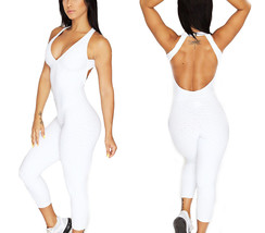 Womens Sport Yoga Jumpsuit Ruched Butt Lifting Sleeveless Backless Romper - $22.22
