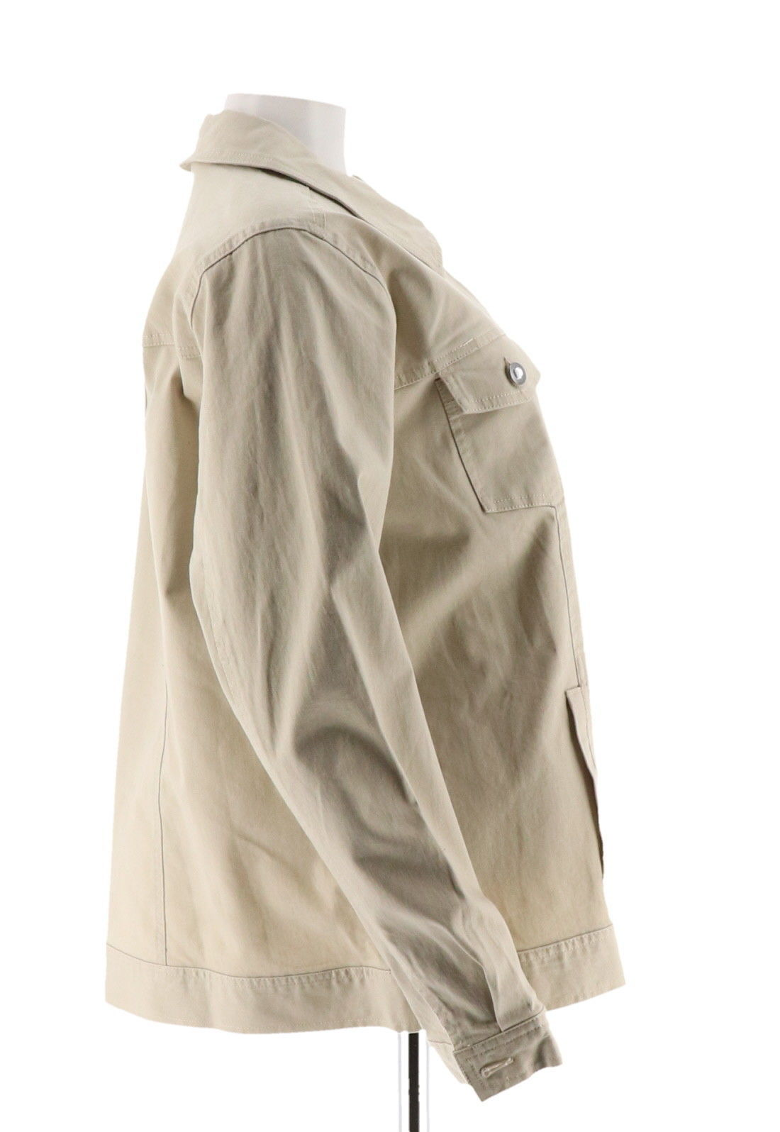 Denim & Co Stretch Twill Jean Jacket Bling Buttons New Stone XXS NEW A199936