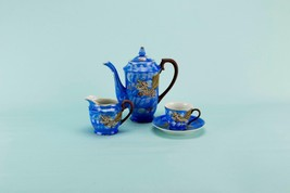 Blue Dragon Coffee Set for 5 Japanese c1950 Vintage Porcelain Pot Cups C... - $67.21