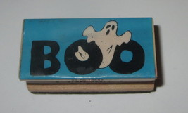 """Boo Rubber Stamp Ghost Halloween Wood Mounted 2"""" Long - $3.95"""