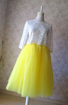 Yellow Puffy Midi Tulle Skirt Plus Size Tulle Tutu Skirt 6-layered Yellow Skirt  image 8