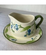 Franciscan Forget Me Not Pattern Gravy Boat With Attached Underplate Gre... - $69.29