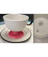 """2 """"LA FONDA DEL SOL"""" ALEXANDER GIRARD Pink Black Pedestal Mug CUP + SAUC... - $675.24"""