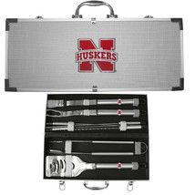 nebraska cornhuskers 8 pc tailgater stainless steel bbq set with metal case - $126.34